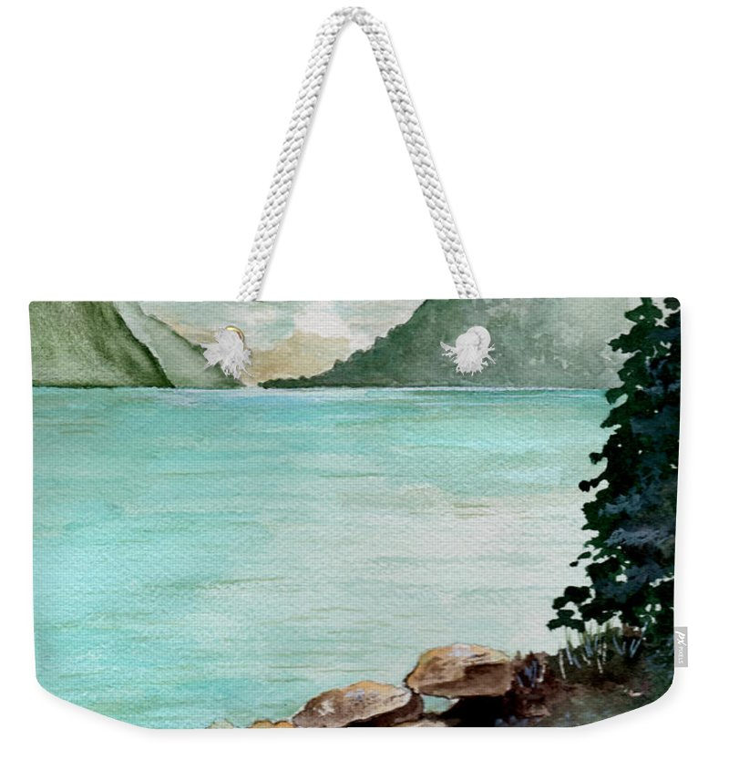 Watercolor Weekender Tote Bag featuring the painting Solitude Of The Lake by Brenda Owen