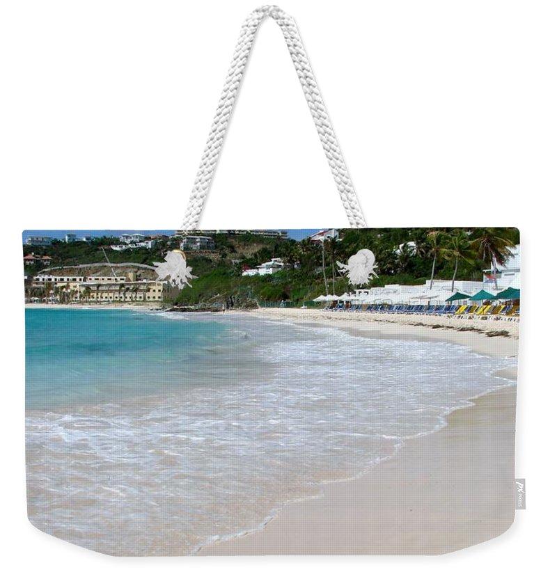 Dawn Beach Weekender Tote Bag featuring the photograph Solitude On Dawn Beach by Margaret Bobb
