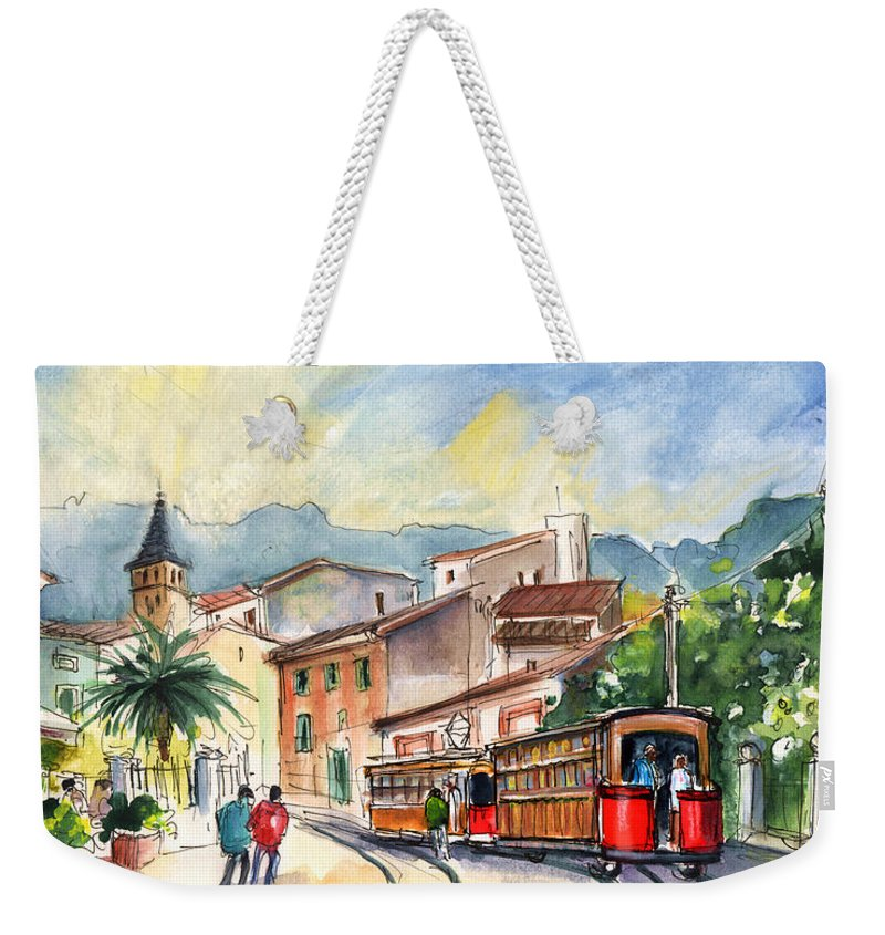 Travel Weekender Tote Bag featuring the painting Soller In Majorca 01 by Miki De Goodaboom