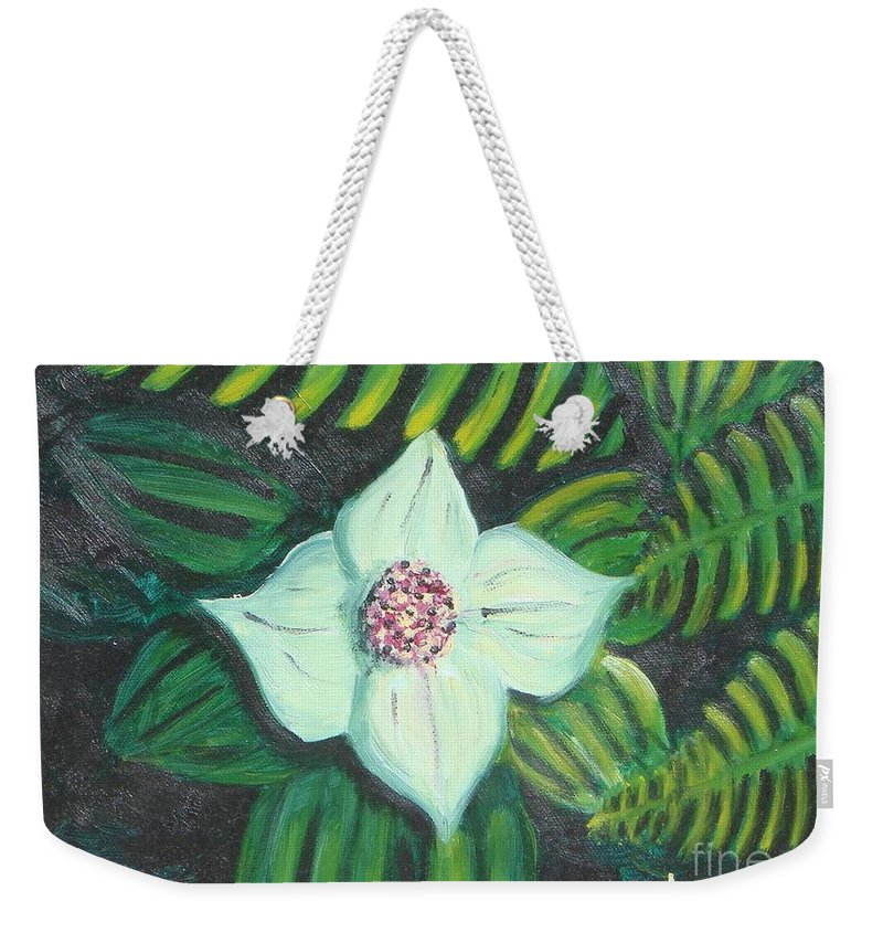Flowers Weekender Tote Bag featuring the painting Solo Performance by Laurie Morgan