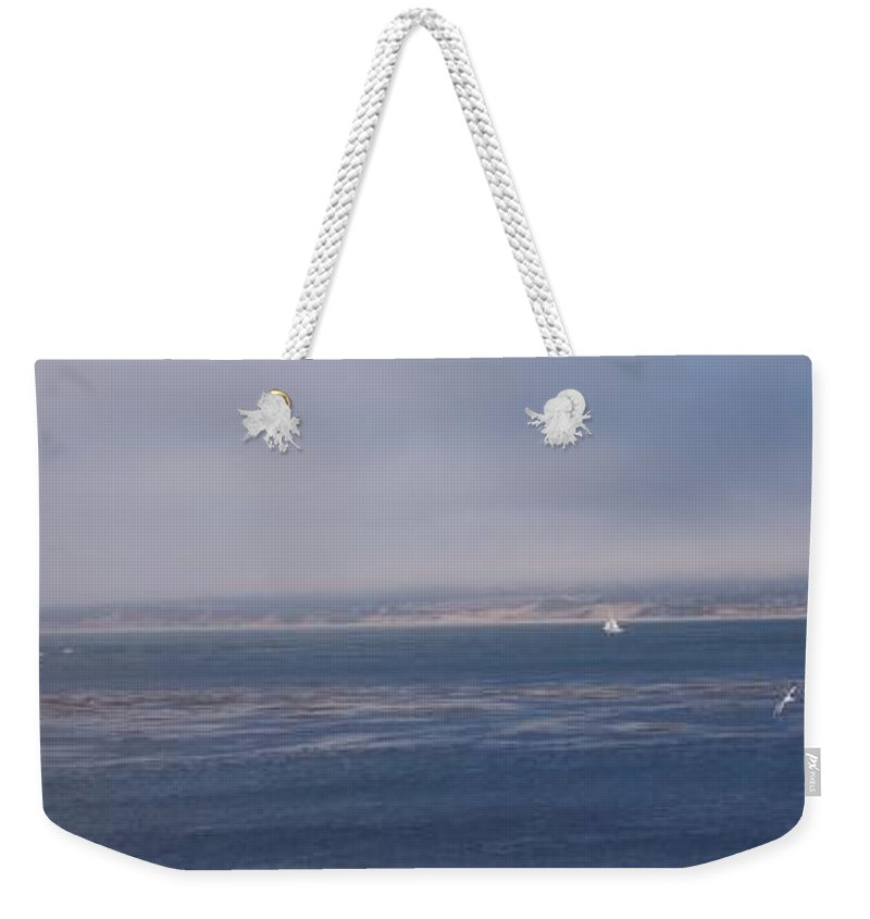 Sailing Outdoors Sail Ocean Monterey Bay Sea Seascape Boat Shoreline Sky Pacific Nature California Weekender Tote Bag featuring the photograph Solo Sail In Monterey Bay by Pharris Art