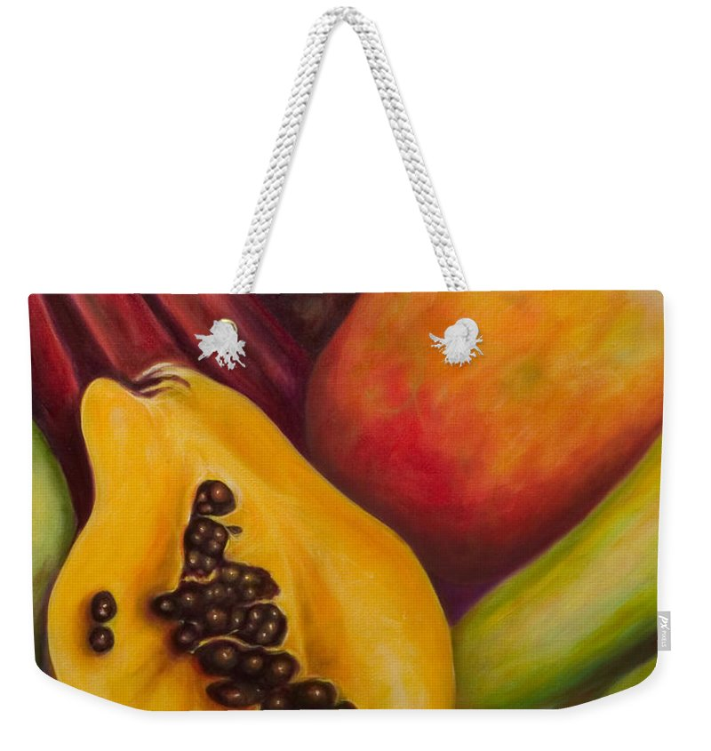 Tropical Fruit Still Life: Mangoes Weekender Tote Bag featuring the painting Solo by Shannon Grissom