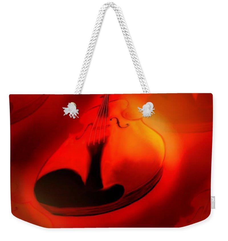 Violin Weekender Tote Bag featuring the digital art Soloviolin by Helmut Rottler