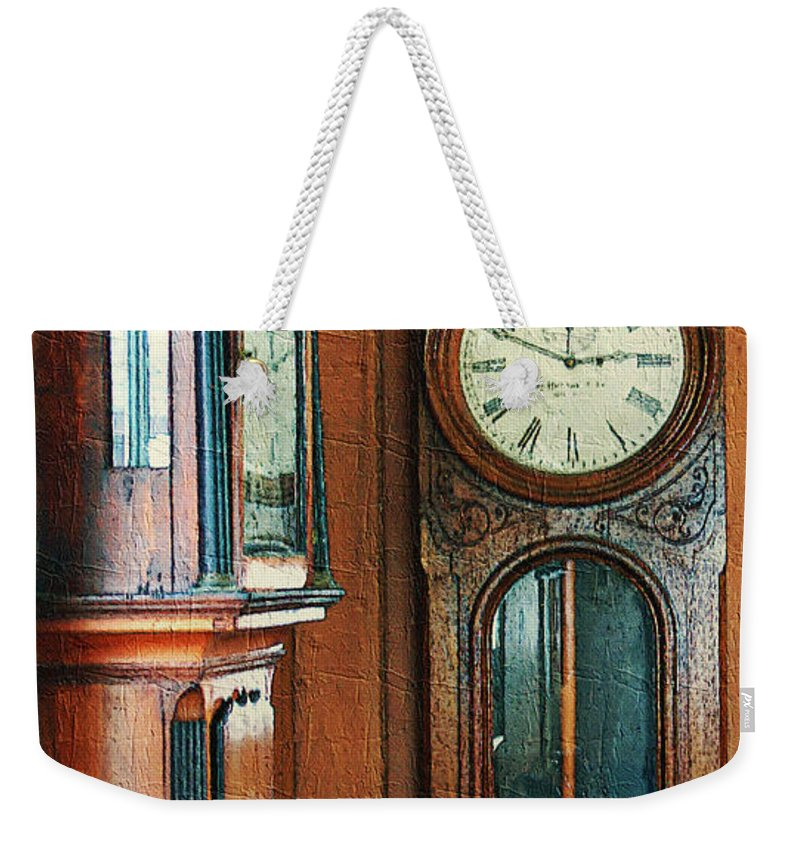 Antiques Weekender Tote Bag featuring the digital art Somebodys Grandfathers Clocks by RC DeWinter
