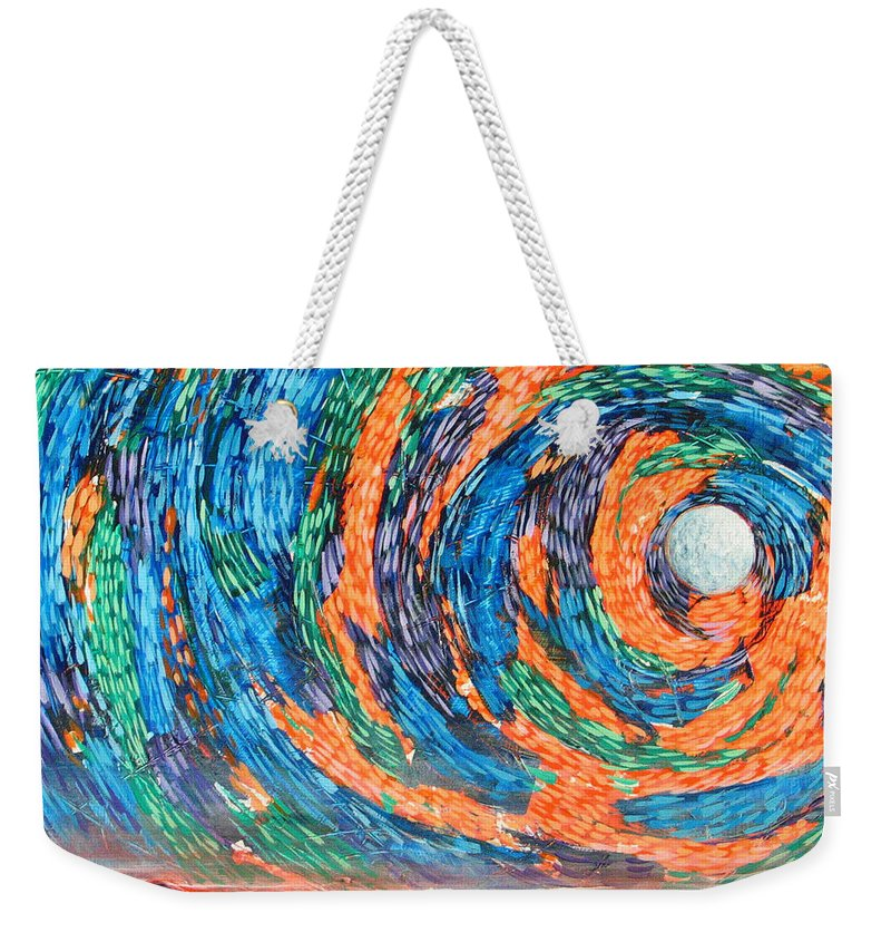 Skyscape Weekender Tote Bag featuring the painting Something Always Happens by Rollin Kocsis