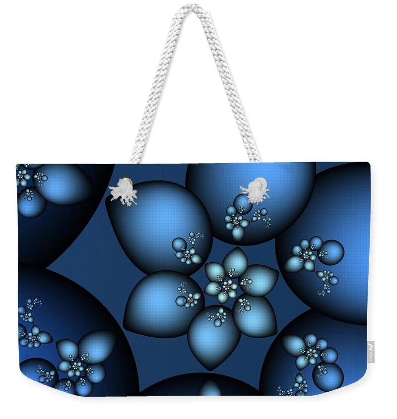 Fractal Weekender Tote Bag featuring the digital art Something Blue by Jutta Maria Pusl