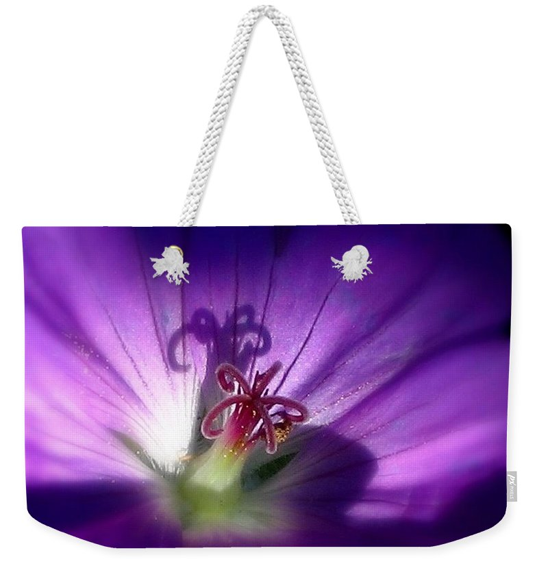 Floral Weekender Tote Bag featuring the photograph Something Blue by Marla McFall