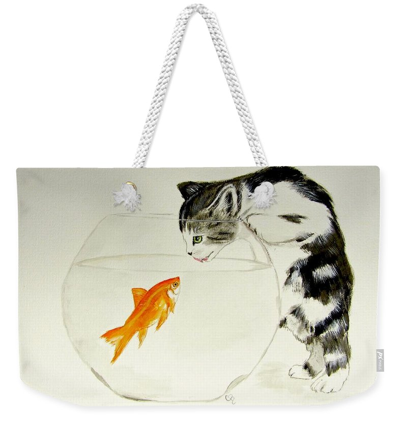 Cat Watercolor Weekender Tote Bag featuring the painting Something Fishy by Carol Blackhurst
