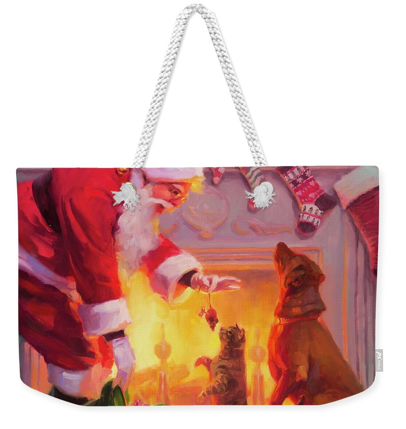 Christmas Weekender Tote Bag featuring the painting Something For Everyone by Steve Henderson