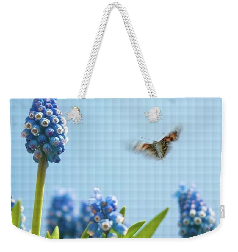 Insectsofinstagram Weekender Tote Bag featuring the photograph Something In The Air: Peacock by John Edwards