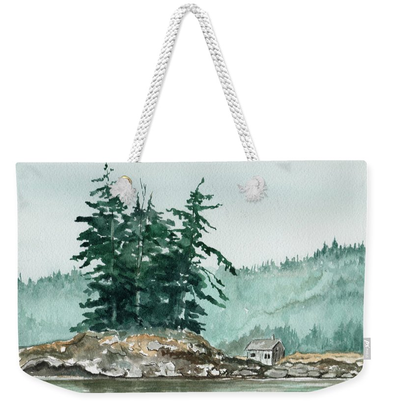 Landscape Watercolor Scenery Scenic Nature Wilderness Cabin Shack Trees Water Rural Weekender Tote Bag featuring the painting Sometimes A Great Notion by Brenda Owen