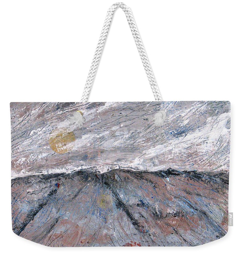 Mountains Weekender Tote Bag featuring the painting Somewhere Higher by Rollin Kocsis