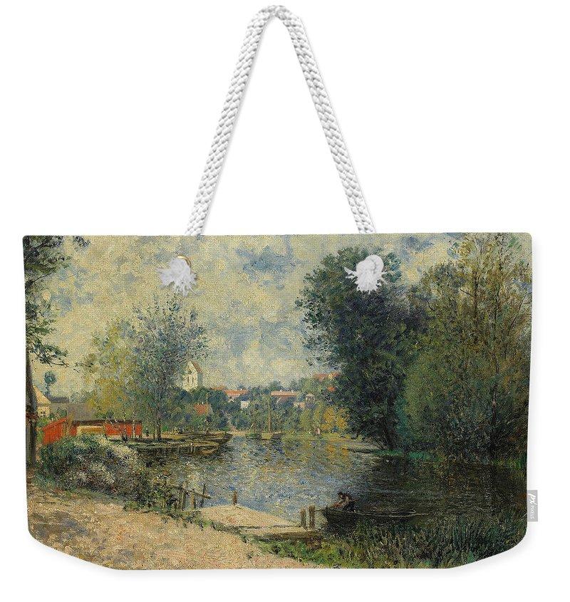 Swedish Art Weekender Tote Bag featuring the painting Sommarlandskap by Alfred Wahlberg