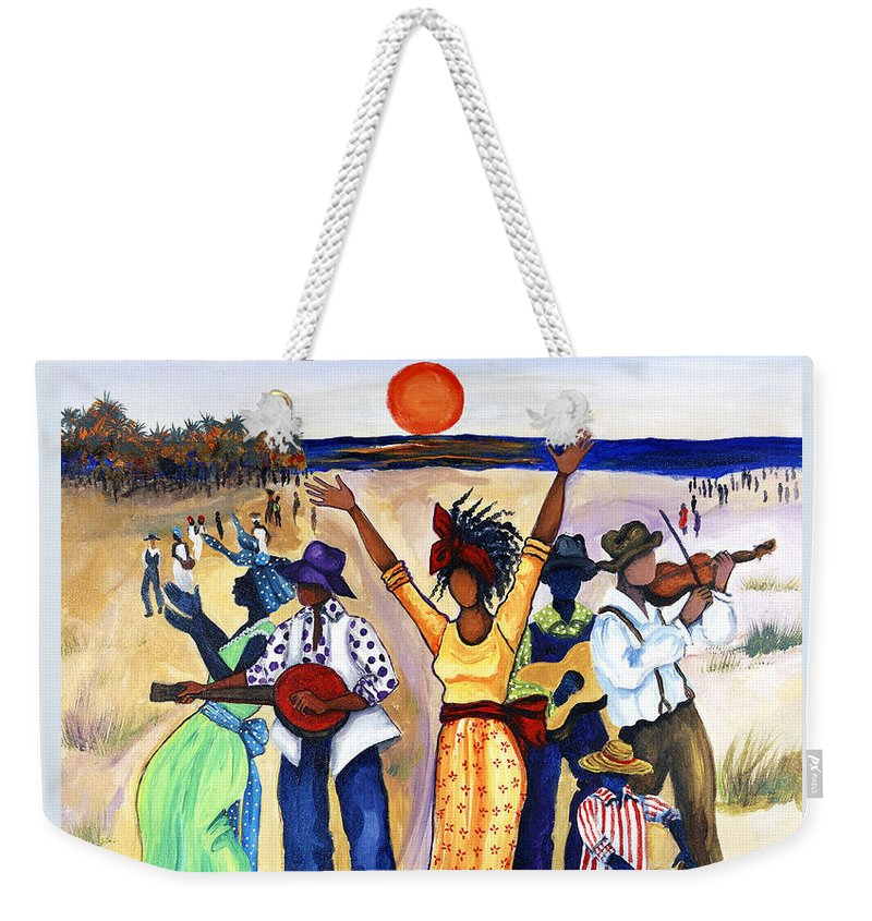 Gullah Weekender Tote Bag featuring the painting Songs of Zion by Diane Britton Dunham
