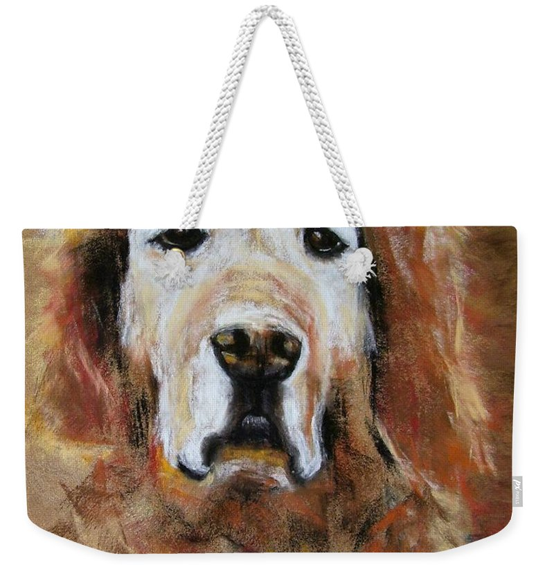 Golden Weekender Tote Bag featuring the painting Sonny by Frances Marino