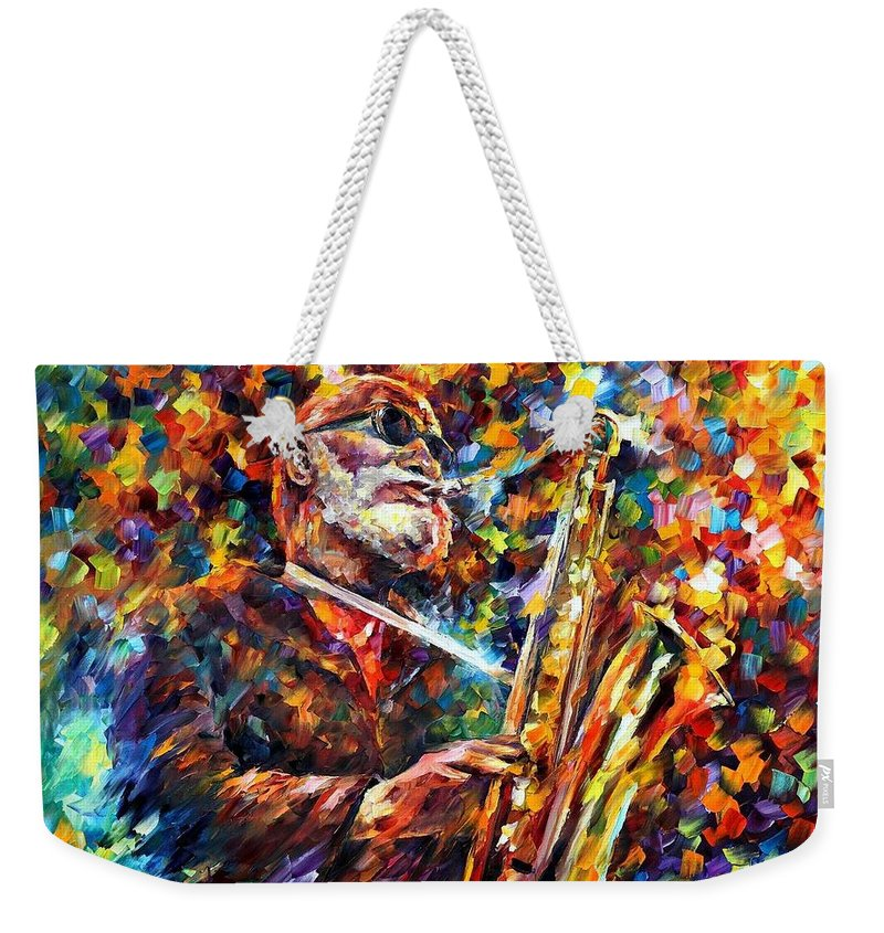 Afremov Weekender Tote Bag featuring the painting Sonny Rollins by Leonid Afremov