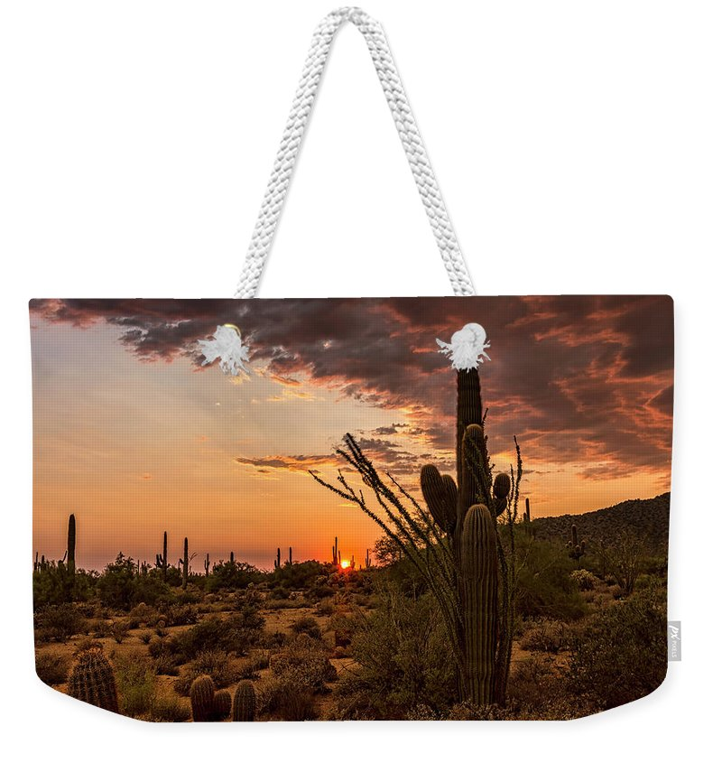 Saguaro Sunset Weekender Tote Bag featuring the photograph Sonoran Summer by Saija Lehtonen