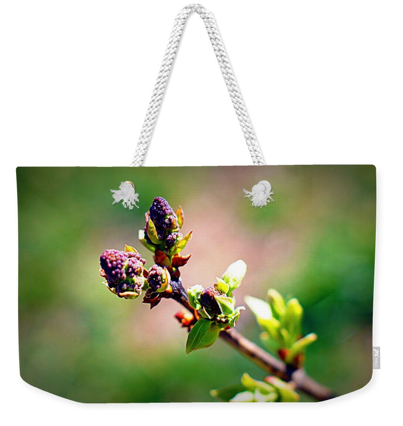 Flower Weekender Tote Bag featuring the photograph Soon To Be Lilacs by Cricket Hackmann