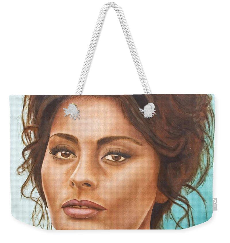 Moviestar Weekender Tote Bag featuring the painting Sophia Loren by Rob De Vries