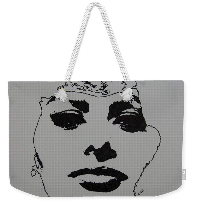 Sophia Weekender Tote Bag featuring the drawing Sophia by Lynet McDonald