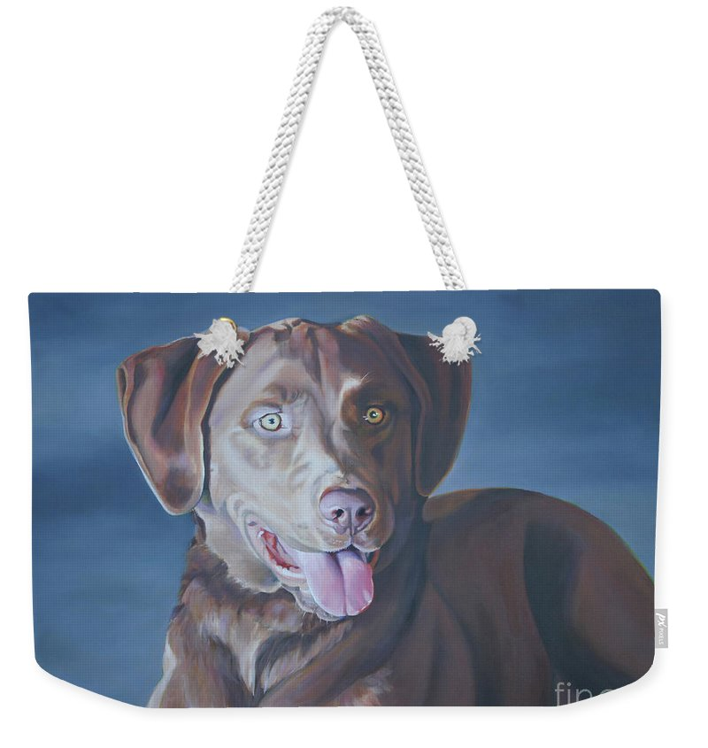 Dog Weekender Tote Bag featuring the painting Sophie by Suzanne Leonard