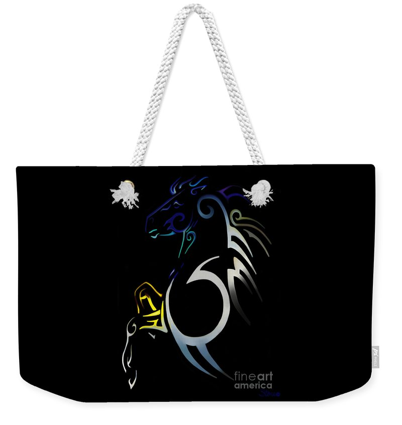Tribal Weekender Tote Bag featuring the digital art Soquili by September Stone