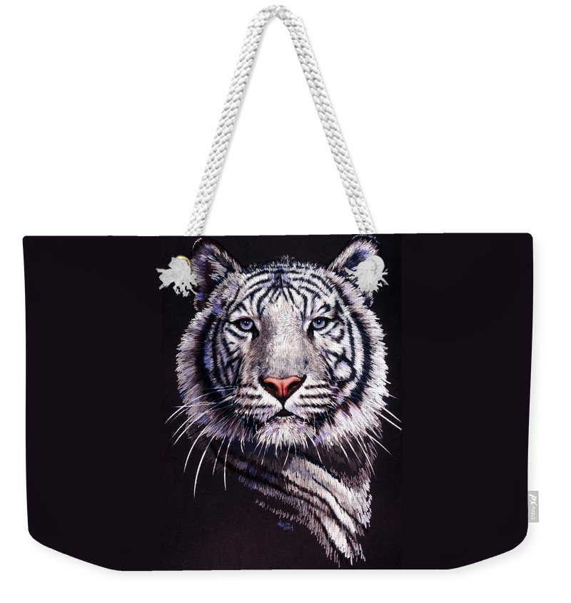 Tiger Weekender Tote Bag featuring the drawing Sorcerer by Barbara Keith