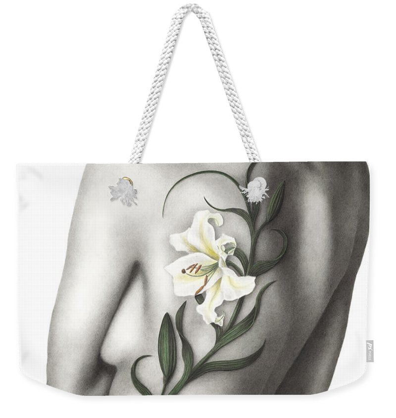 Woman Weekender Tote Bag featuring the painting Sorrow by Pat Erickson