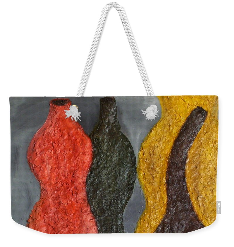 Still Life Paintings Weekender Tote Bag featuring the painting Sorted Vases by Leslye Miller