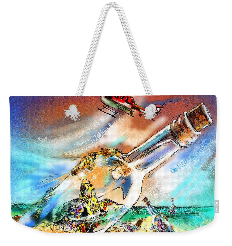 Turtles Weekender Tote Bag featuring the painting Sos To The World by Miki De Goodaboom