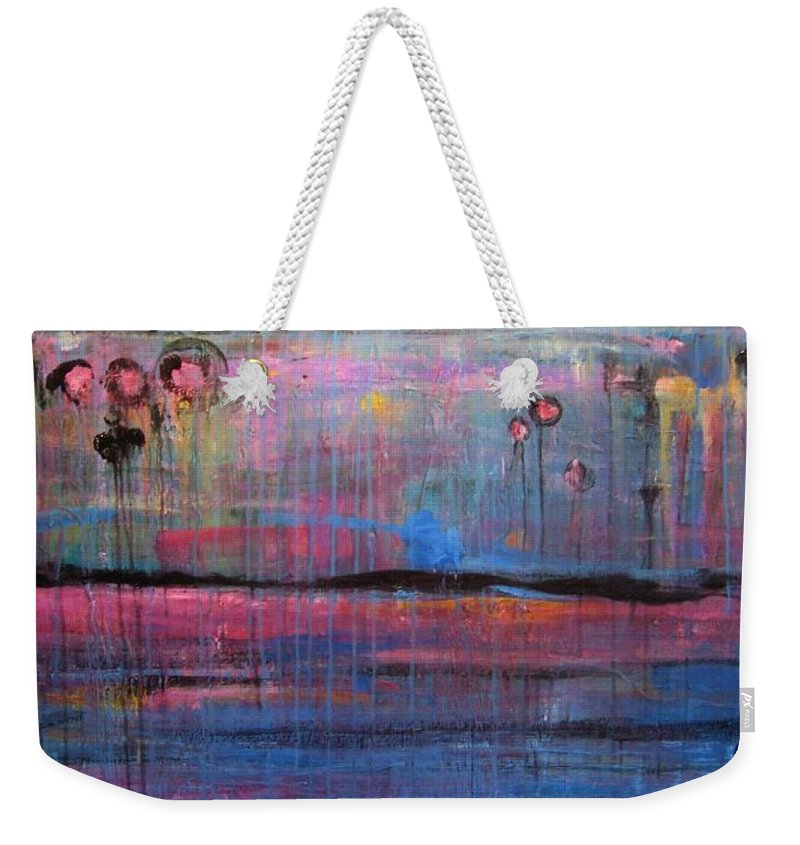 Abstract Weekender Tote Bag featuring the painting Soul by Laurie Maves ART
