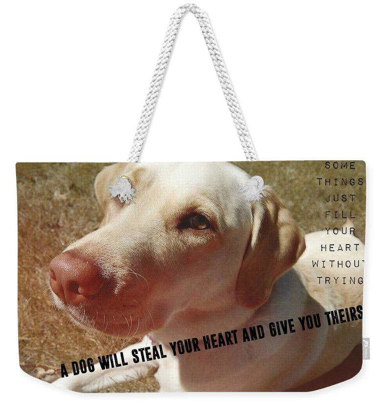 Dog Weekender Tote Bag featuring the photograph Soul Mate Quote by JAMART Photography