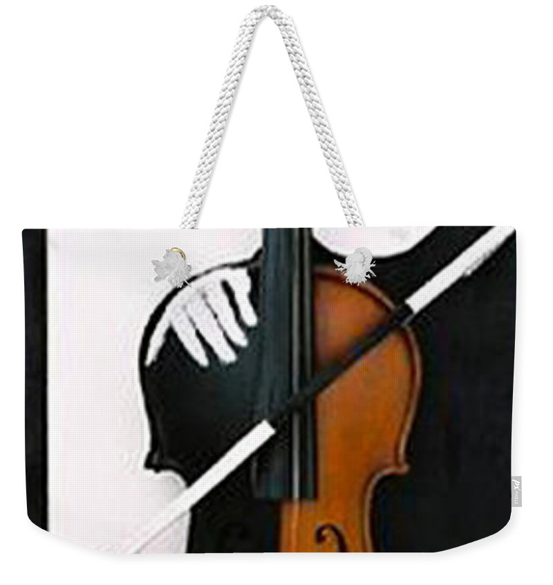 Violin Weekender Tote Bag featuring the sculpture Soul Of Music by Steve Karol