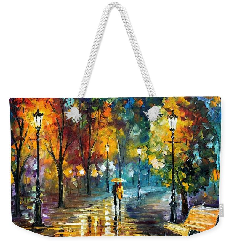 Afremov Weekender Tote Bag featuring the painting Soul Of The Rain by Leonid Afremov