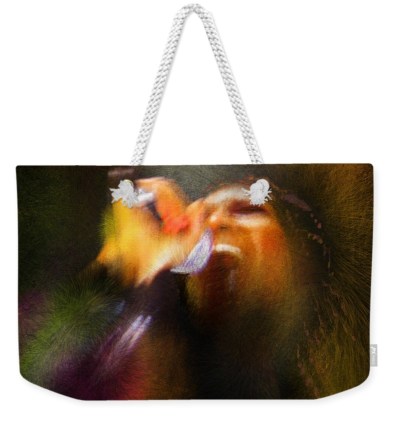 Music Weekender Tote Bag featuring the painting Soul Scream by Miki De Goodaboom