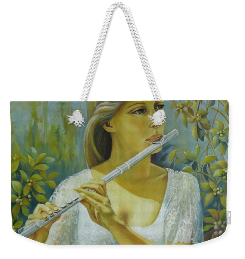 Portrait Weekender Tote Bag featuring the painting Sound by Elena Oleniuc