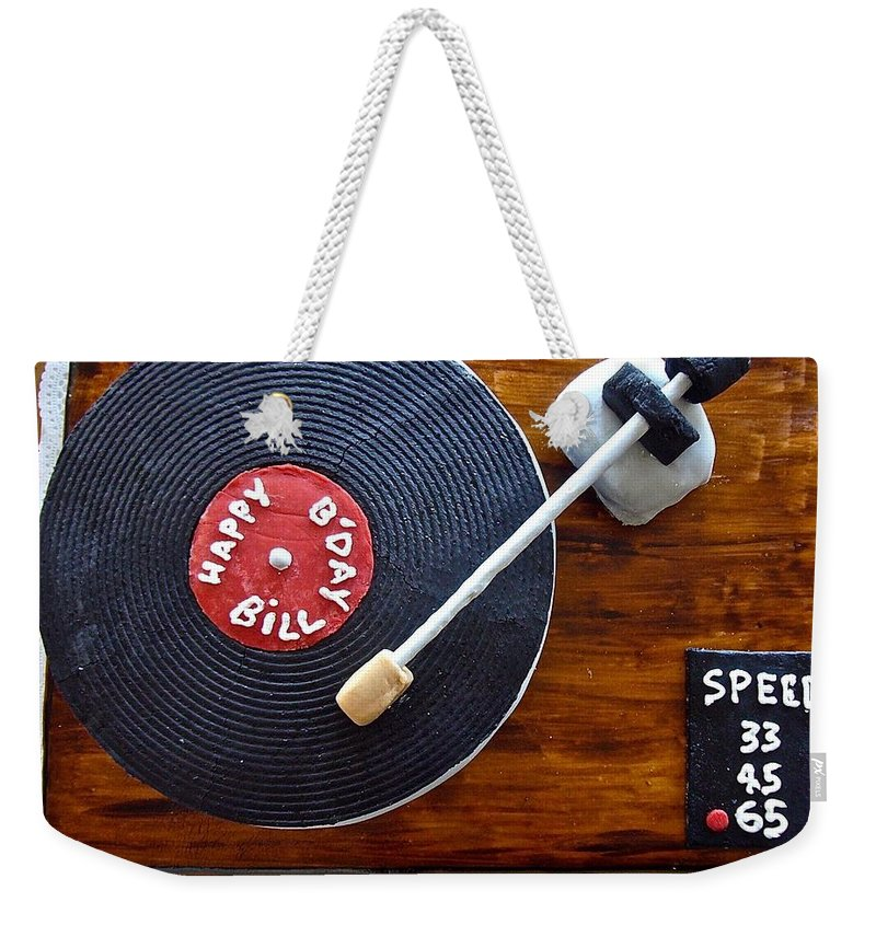 Birthday Cake Weekender Tote Bag featuring the photograph Record Player Cake by Elisabeth Derichs