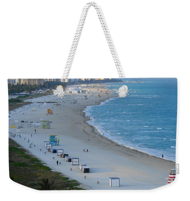 Miami Weekender Tote Bag featuring the photograph South Beach At Its Best by Margaret Bobb