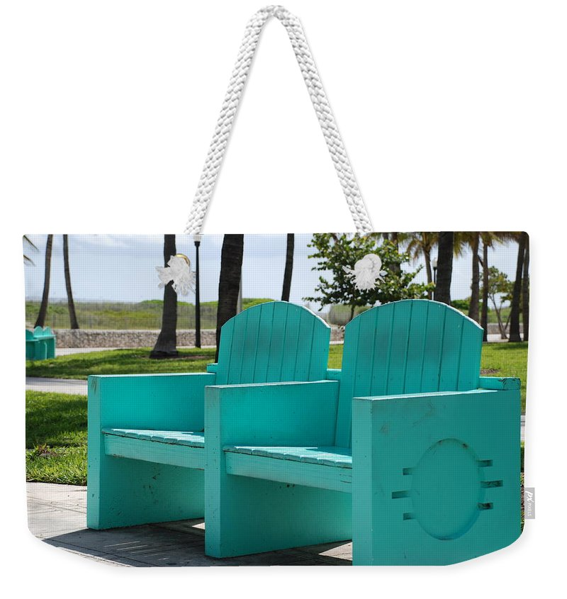 Art Deco Weekender Tote Bag featuring the photograph South Beach Bench by Rob Hans