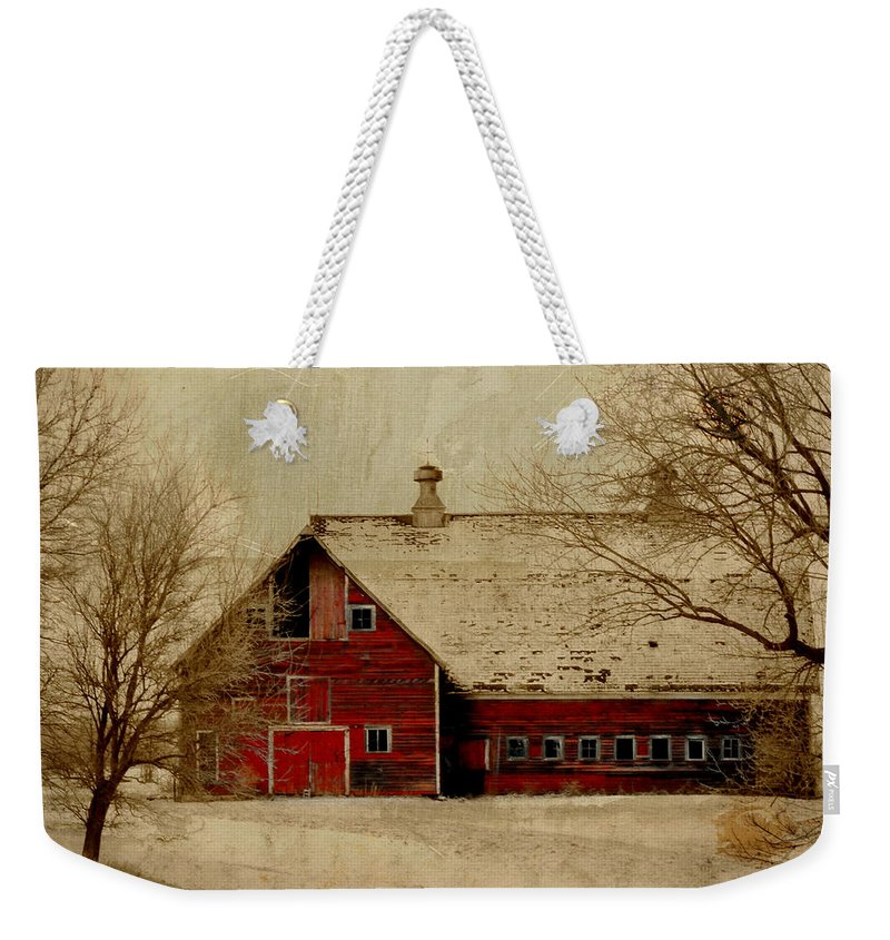 Red Weekender Tote Bag featuring the digital art South Dakota Barn by Julie Hamilton
