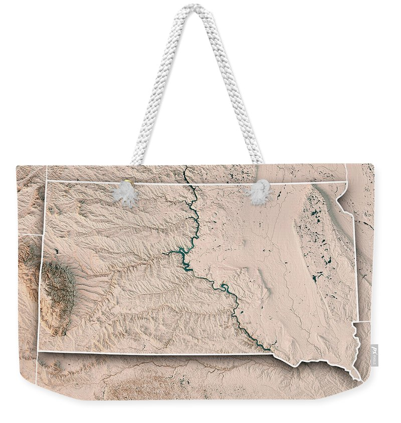 South Dakota Weekender Tote Bag featuring the digital art South Dakota State Usa 3d Render Topographic Map Neutral Border by Frank Ramspott