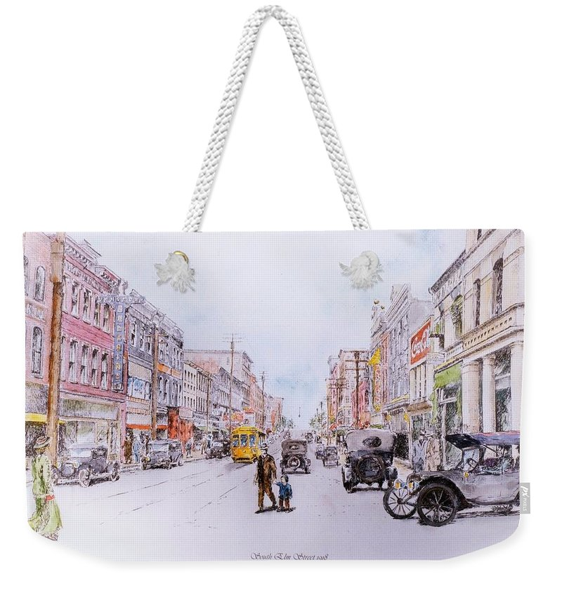 Print Greensboro History Weekender Tote Bag featuring the painting South Elm Street 1918 by Maggie Clark