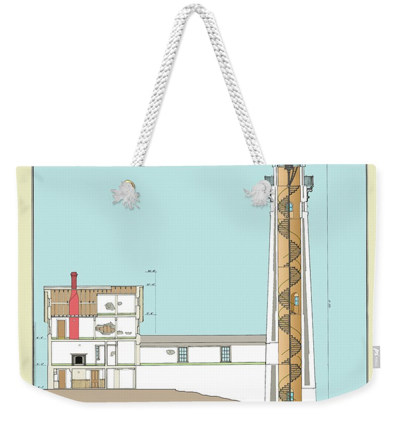 South Manitou Island Lighthouse Weekender Tote Bag featuring the drawing South Manitou Island Lighthouse Color Drawing by Jerry McElroy