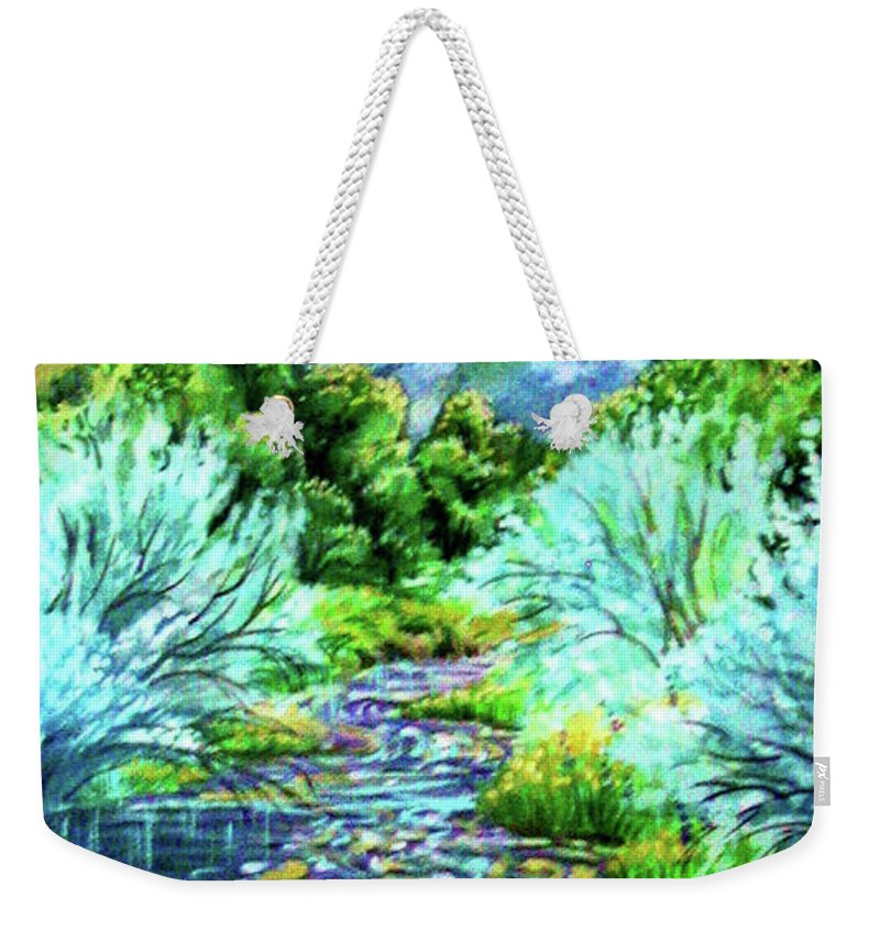 South Platte River At Spring Run Off Life Blood Of Denver Colorado Purples Teal Blues Greens Reflections Yellow Weekender Tote Bag featuring the painting South Platte River by Annie Gibbons
