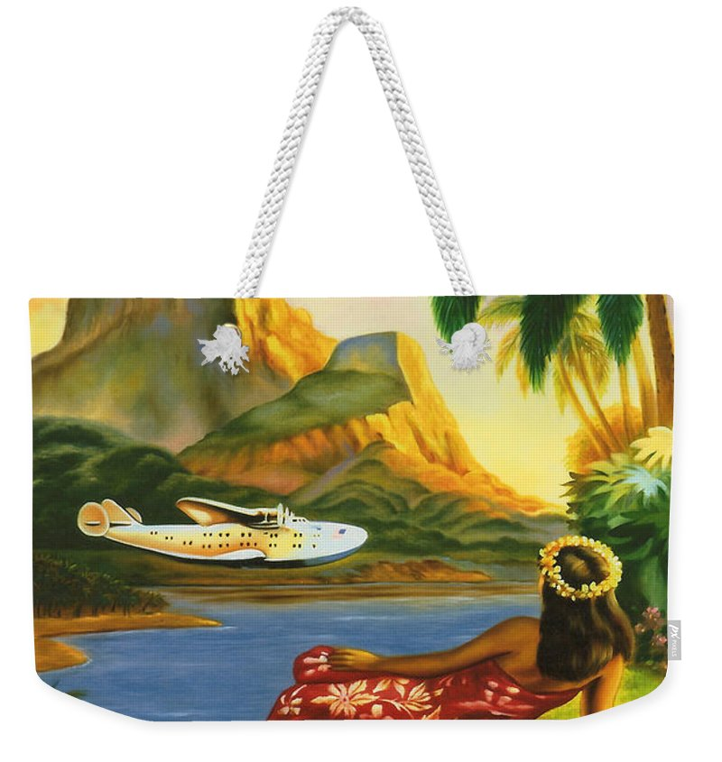 Background Weekender Tote Bag featuring the digital art South Sea Isles by Georgia Fowler