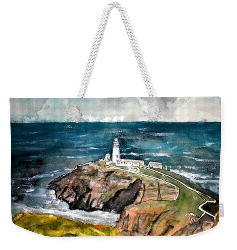 South Stack Lighthouse Weekender Tote Bag featuring the painting South Stack Lighthouse by Derek Mccrea