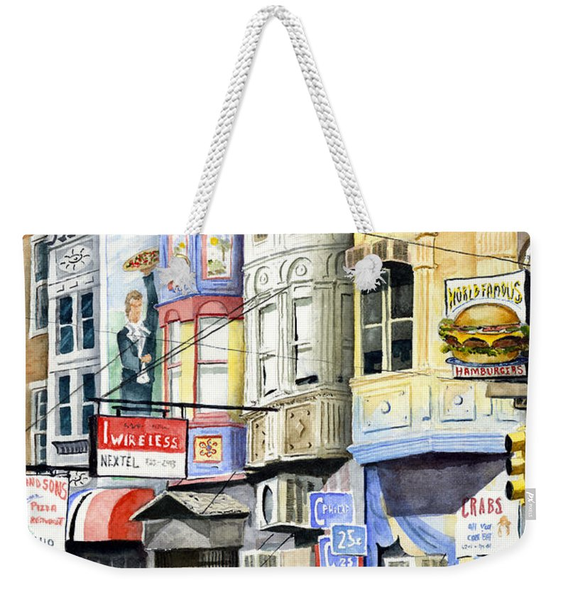 Street Weekender Tote Bag featuring the painting South Street by Sam Sidders