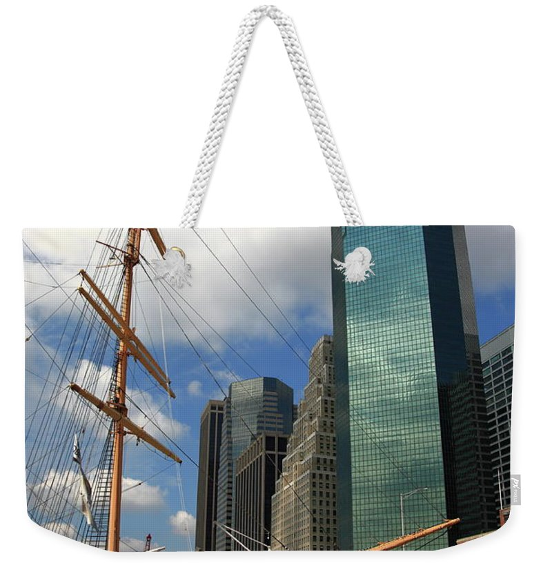 Attractions Weekender Tote Bag featuring the photograph South Street Seaport - New York City by Frank Romeo