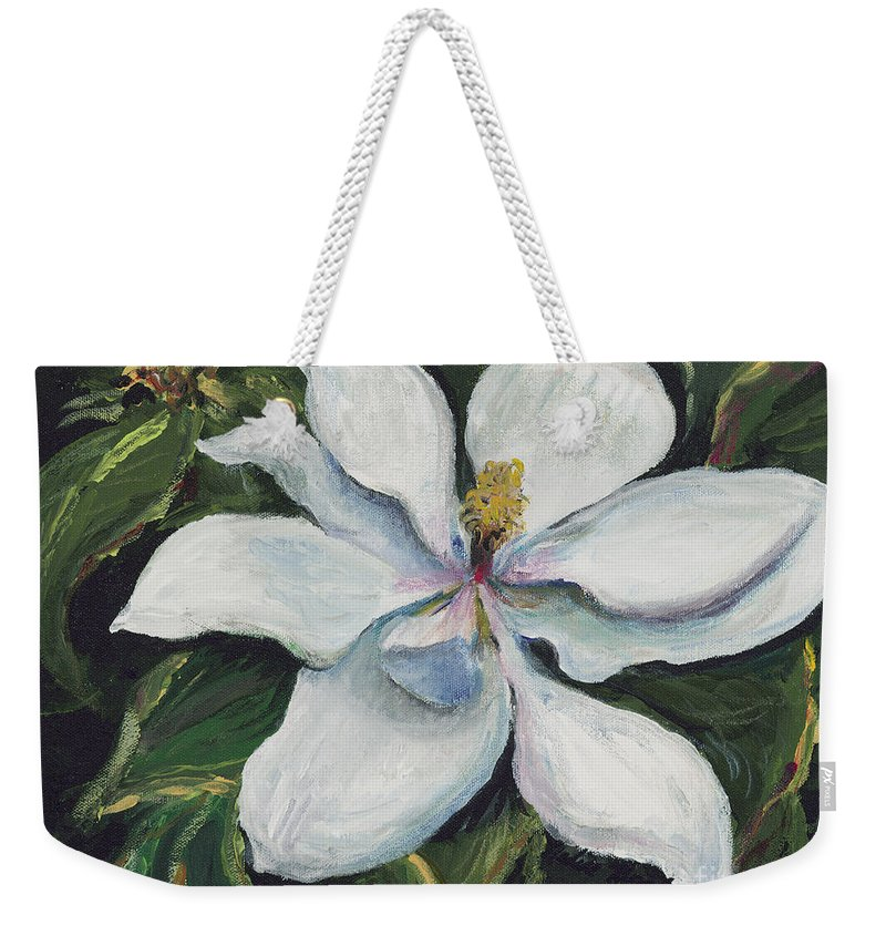 Green Weekender Tote Bag featuring the painting Southern Beauty by Nadine Rippelmeyer