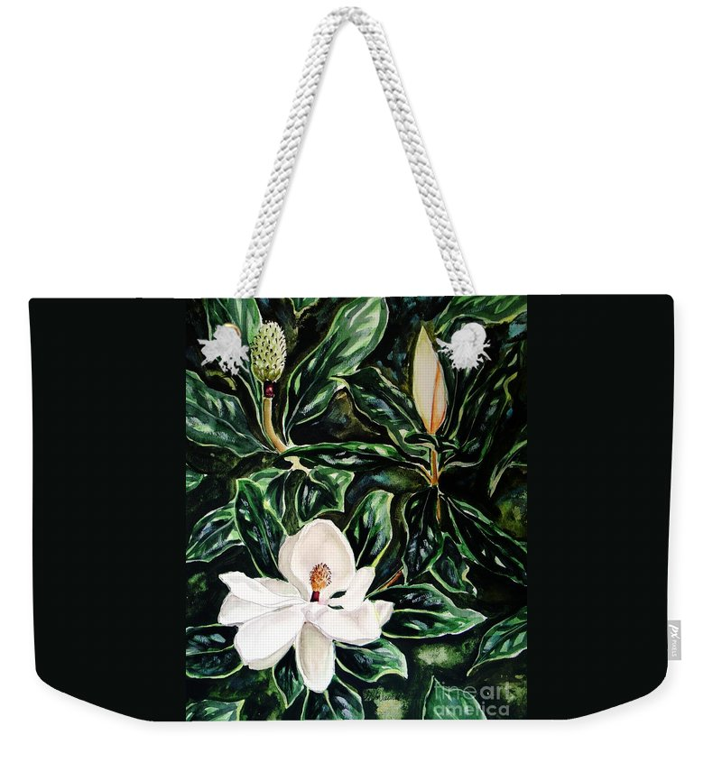 Flower Weekender Tote Bag featuring the painting Southern Magnolia Bud And Bloom by Patricia L Davidson